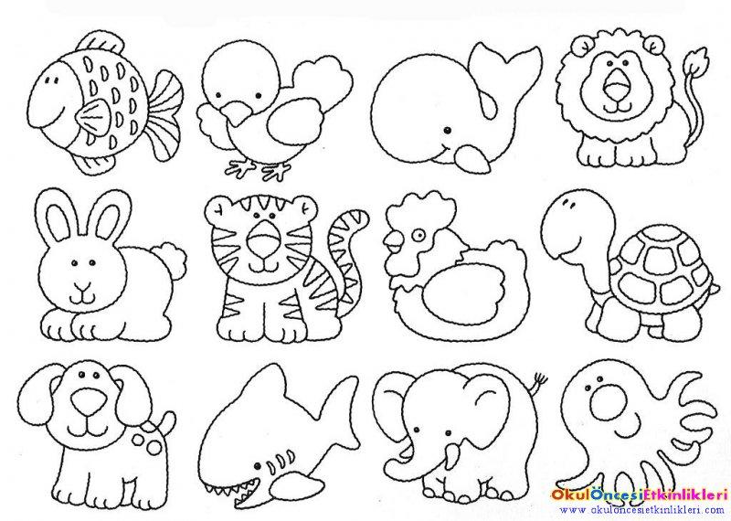 Sirin Hayvanlar Boyama Sayfasi Okul Oncesi Etkinlikleri