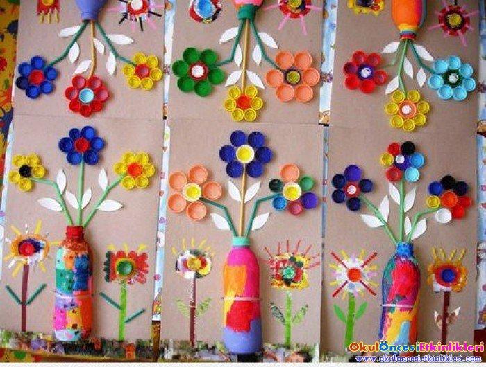 Kapaklarla i ek yapma okul nces etk nl kler for Actividades para jardin infantil