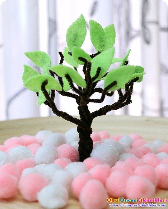 Ponponlarla Ilkbahar Ağacı Yapalım Okul öncesi