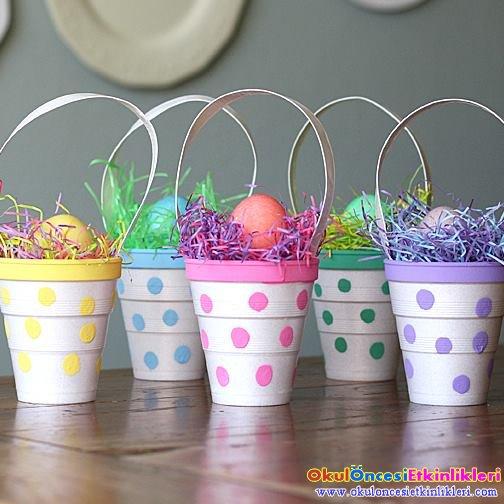 Ped Bardak Ile Renkli Yumurta Sepetleri Yapalim Okul Oncesi