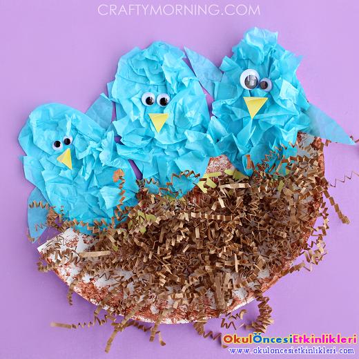 Yuvas nda ku lar yapal m okul nces etk nl kler for Baby bird nest craft