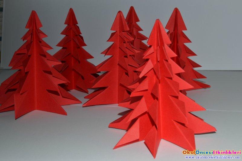 Origami ile yeni y l a a lar yapal m okul nces - Origami sapin de noel facile ...