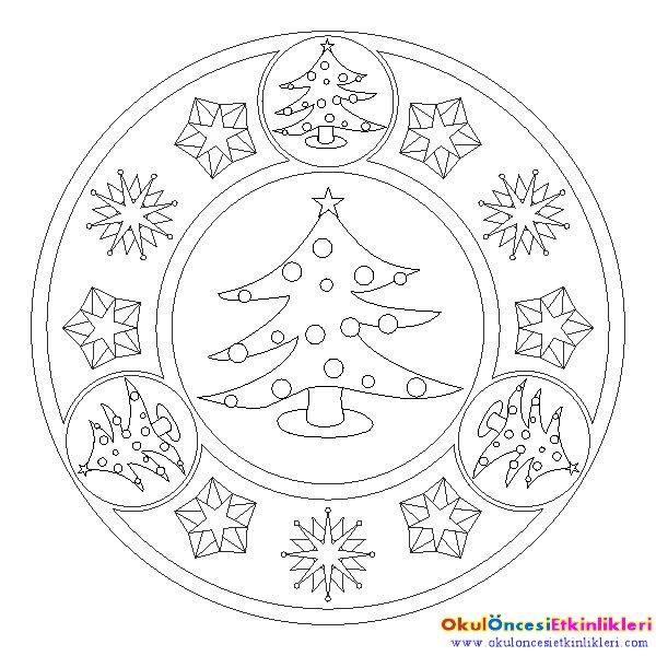 çocuklar Için Noel Mandala Boyama Okul öncesi Etkinlikleri