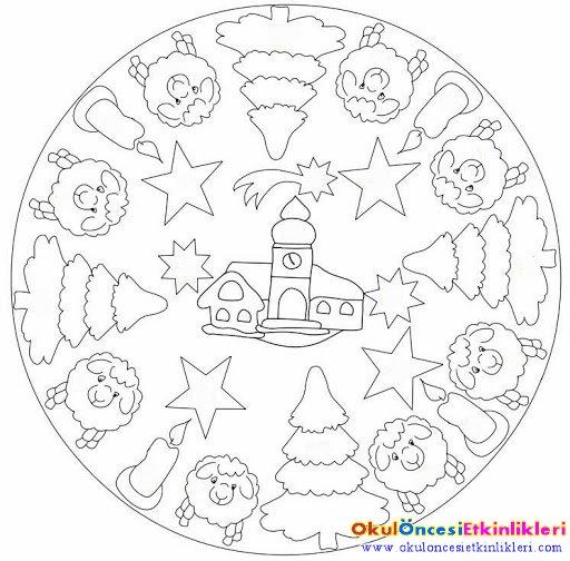 Cocuklar Icin Noel Mandala Boyama Okul Oncesi Etkinlikleri