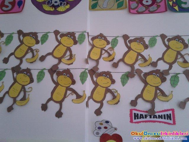 Dalda Asilan Maymunlar Sanat Etkinligi Okul Oncesi Etkinlikleri
