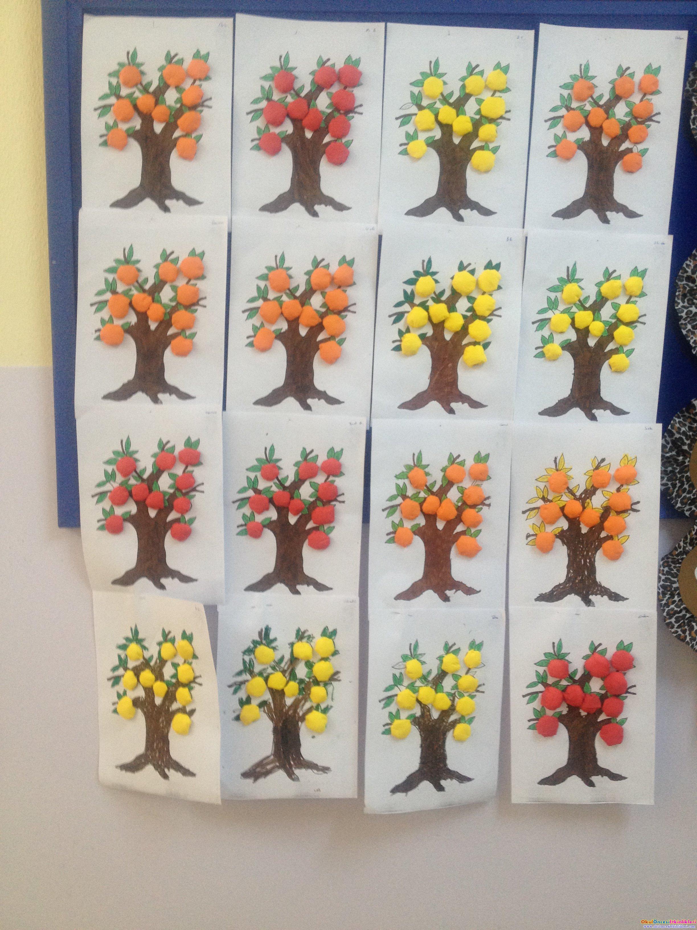 Meyve Ağaçları Sanat Etkinliği Okul öncesi Etkinlikleri