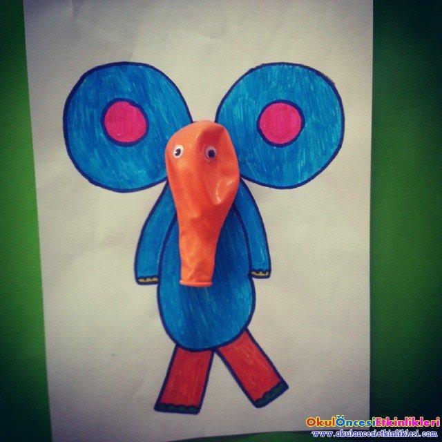 Anasinifi Balonla Yapilabilecek Etkinlik Orneklerimiz 7405 on E Is For Elephant Preschool Craft