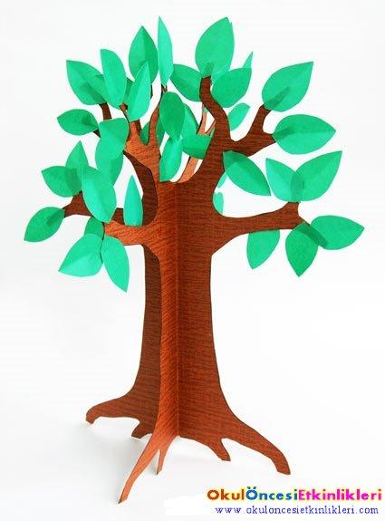 üç Boyutlu Kağıt Ağacı Yapalım Okul öncesi Etkinlikleri