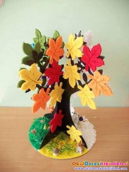Dört Mevsim Ağacı üç Boyutlu Okul öncesi Etkinlikleri